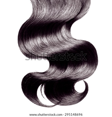 Curly black hair over white - stock photo