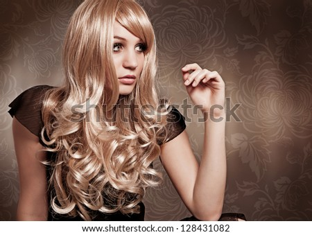 curly blond girl Brigitte Bardot like - stock photo