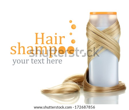 Curly blond hair with shampoo close-up isolated on white - stock photo