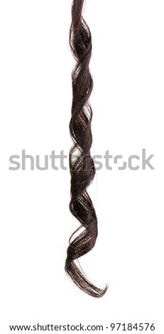 Curly brown hair isolated on white - stock photo