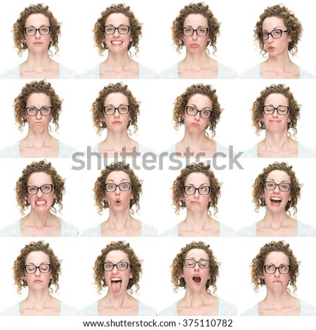 curly  brunette with glasses young caucasian woman collection set of face expression like happy, sad, angry, surprise, yawn isolated on white - stock photo