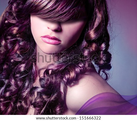 curly colored hair for the evening - stock photo