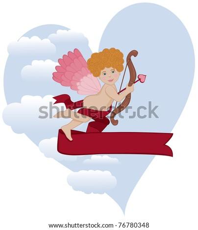 Curly Hair Cupid - Raster Version - stock photo