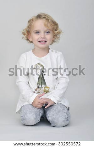 Curly haired girl - stock photo