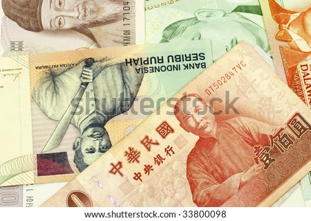 Currencies of Singapore, Taiwan, Korea, Brunei Darussalam and Indonesia. - stock photo