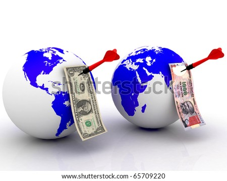 currencies over the world with darts on a white background - stock photo