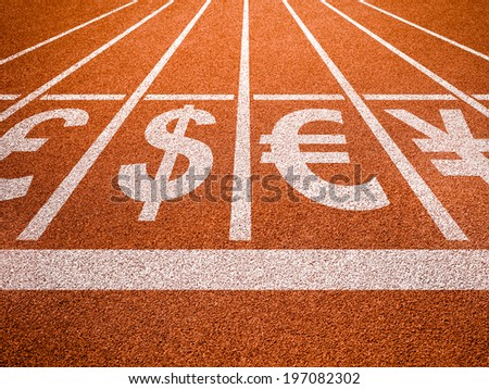 Currencies symbols on running trace start. Money concept. - stock photo