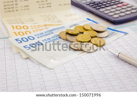 currency and paper money of Denmark, saving account and money concept - stock photo