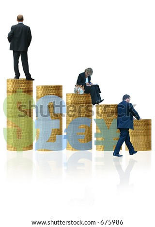 Currency Business Growth and Development + Team Leadership - stock photo