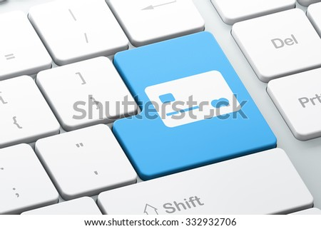 Currency concept: Enter button with Credit Card on computer keyboard background, 3d render
