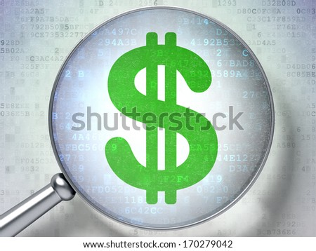 Currency concept: magnifying optical glass with Dollar icon on digital background, 3d render - stock photo