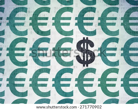 Currency concept: rows of Painted blue euro icons around black dollar icon on Digital Paper background, 3d render - stock photo