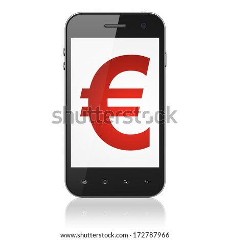 Currency concept: smartphone with Euro icon on display. Mobile smart phone on White background, cell phone 3d render - stock photo