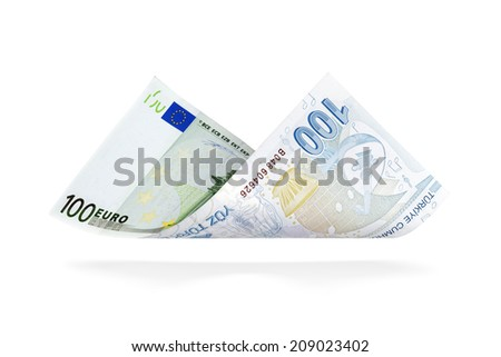 Currency Conversion, one hundred Euro to the one hundred Turkish Lira - stock photo