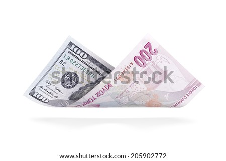 Currency Conversion, U.S. one hundred dollar to the Turkish two hundred lira - stock photo