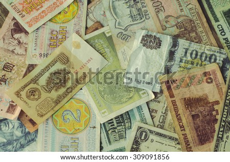 Currency different countries banknotes - stock photo