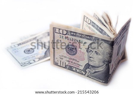 Currency dollar bond each 100$ 20$ 10$ 5$ 1$ - stock photo