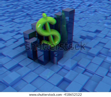 Currency dollar business graph on abstract urban background. 3D illustration. Anaglyph. View with red/cyan glasses to see in 3D. - stock photo