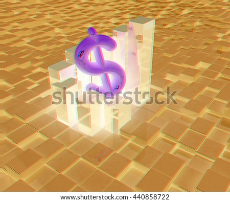 Currency dollar business graph on abstract urban background. 3D illustration. Anaglyph. View with red/cyan glasses - stock photo