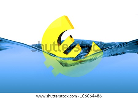 Currency euro sign or symbol sinking in water, concept for European crisis. It is a metaphor for financial,banking, economy,problem,danger or risk. - stock photo