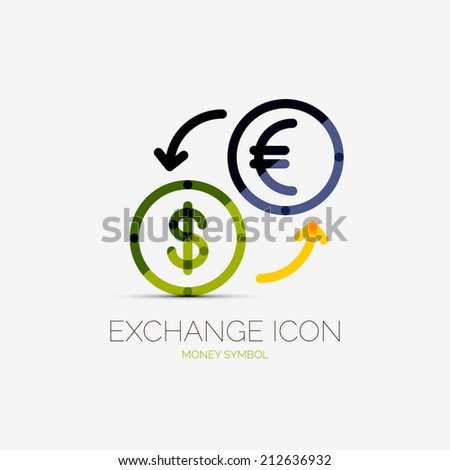 currency exchange company logo design, business symbol concept, minimal line style - stock photo