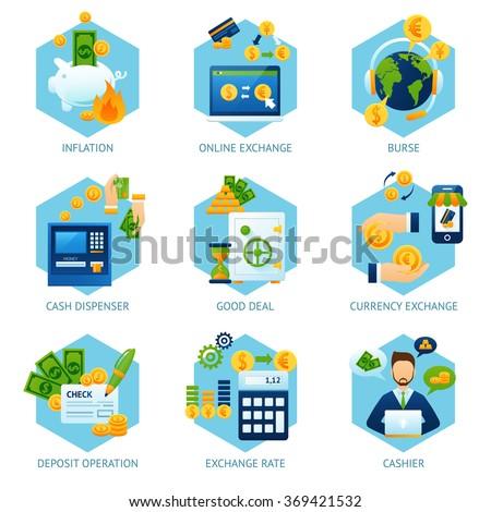 Currency Exchange Concept Set - stock photo