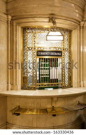 Currency exchange counter in Grand Central Terminal, New York, USA - stock photo