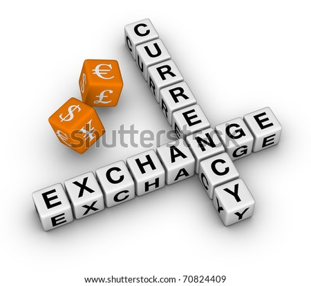currency exchange crossword and dice (3D crossword orange series)