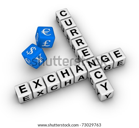currency exchange crossword and red dice - stock photo