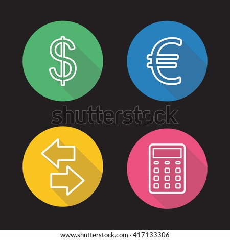 Currency exchange flat linear icons set. Money transfer arrows symbol, calculator, dollar and euro signs. Long shadow outline logo concepts. Raster line art illustrations - stock photo
