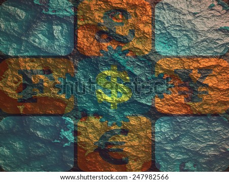 currency exchange puzzle on relief backdrop - stock photo