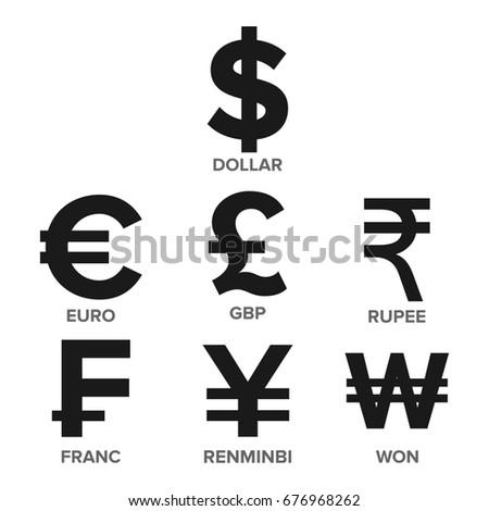 Currency Icon Set Money Famous World Stock Illustration 676968262