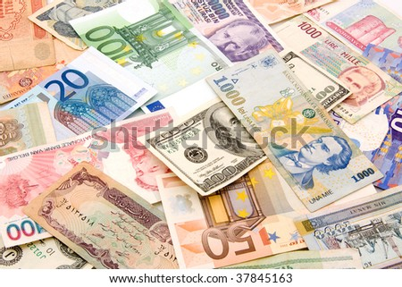currency in the manner of financial background - stock photo