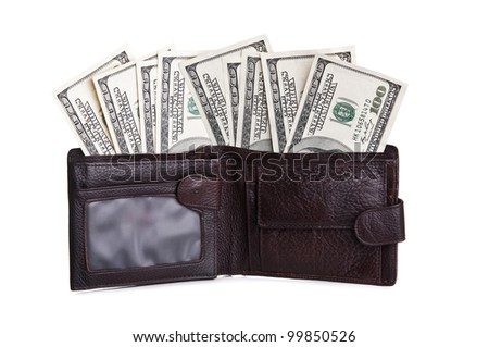 currency in wallet isolated on a white background