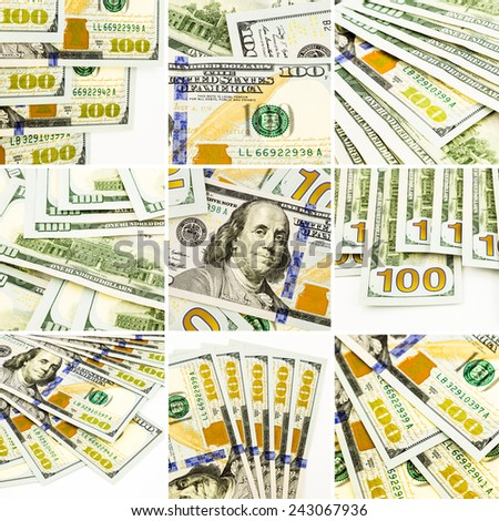 Currency, money, 100 new dollar banknotes collection theme images, collage set of nine photos - stock photo