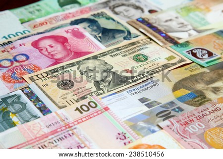 Currency notes of various countries - stock photo