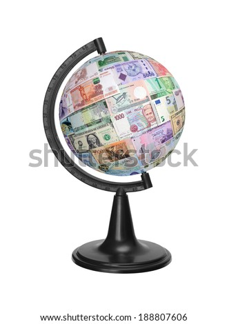 Currency of the different countries isolated on a white background. - stock photo