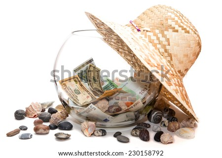Currency on white background isolated in the Bank - stock photo