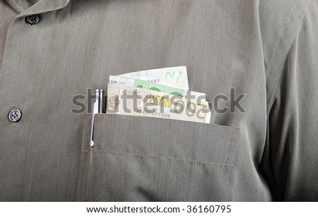 Currency, one hundred euro in hands of male - stock photo
