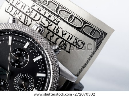Currency, Paycheck, Time. - stock photo