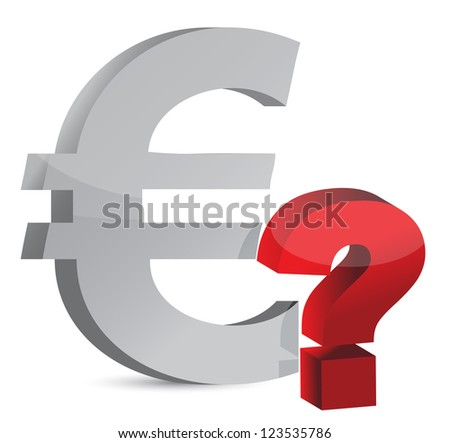 Currency question mark illustration design over white