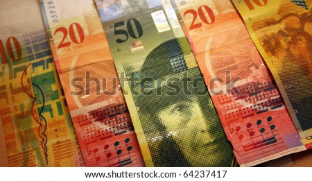 currency - selection of Swiss Francs (10, 20, 50) - stock photo