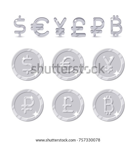 Currency Sign Coins Six Icons Dollar Stock Illustration 757330078