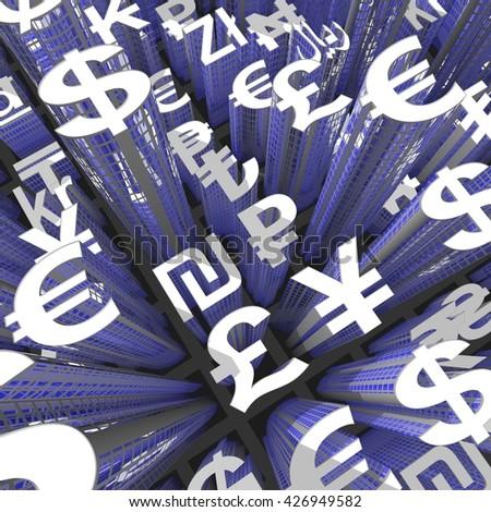 Currency Skyscraper non-colored - 3D illustration - stock photo