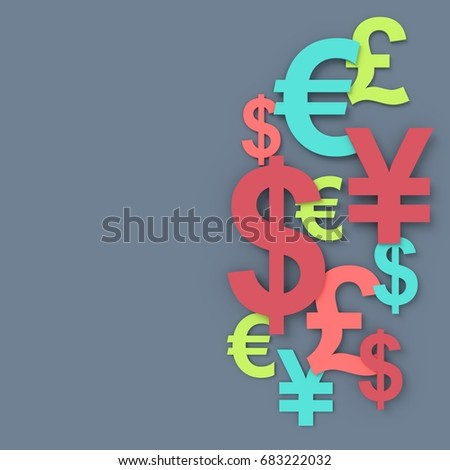 Currency symbol background. 3D rendering.