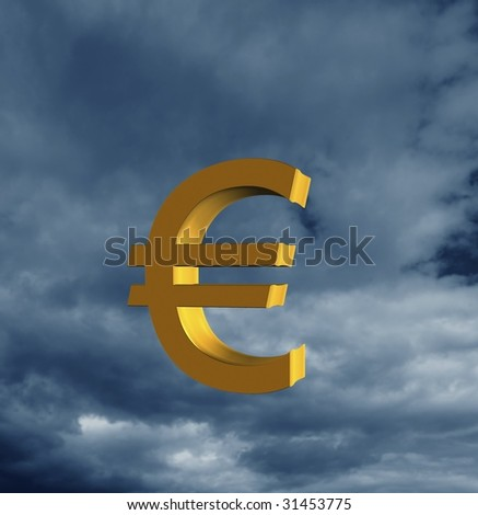 Currency symbol in the sky - stock photo
