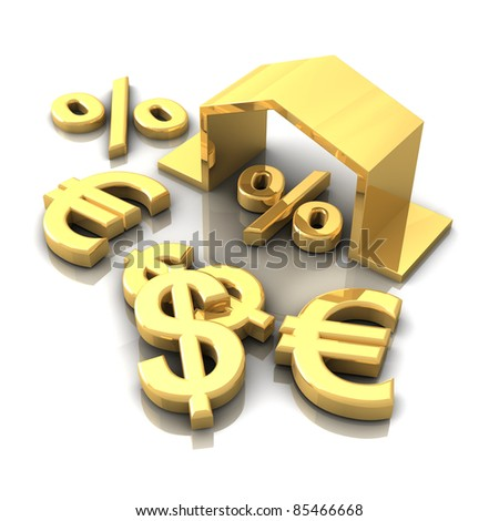 Currency symbols and house for sale - stock photo