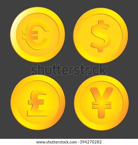 Currency symbols and money coins. Dollar, euro, yen and pound - stock photo