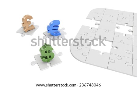 currency symbols are missing pieces of jigsaw. Financial concept. - stock photo