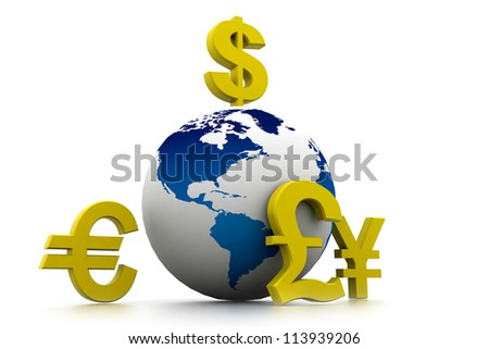 Currency symbols around earth - stock photo